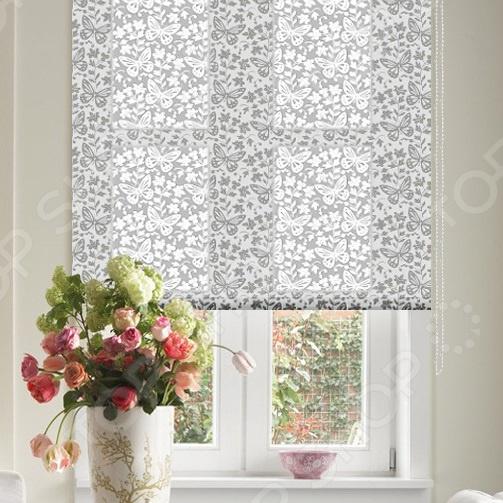 Рулонная штора Эскар «Бабочки». Цвет: белый