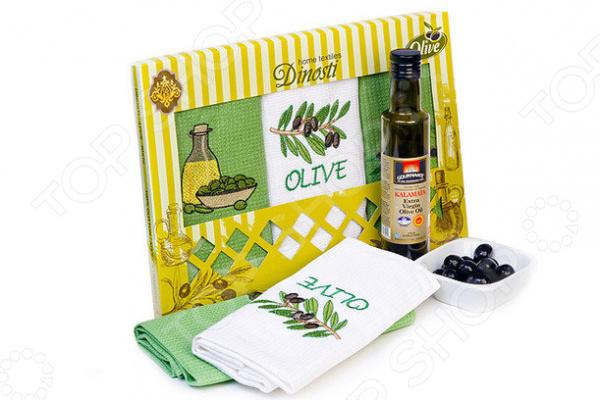 Комплект из 3-х кухонных полотенец Dinosti «Оливки» цена