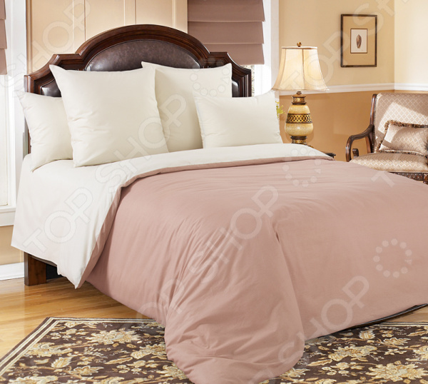 Комплект постельного белья Королевское Искушение гладкокрашеный. Цвет: какао, молочный
