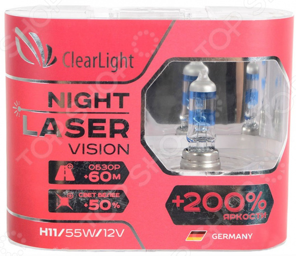 Комплект автоламп галогенных ClearLight Night Laser Vision H11 12V-55W