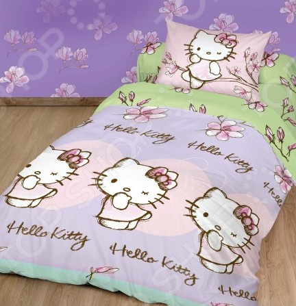 Детский комплект постельного белья Hello Kitty «Магнолия» детский комплект постельного белья непоседа урок
