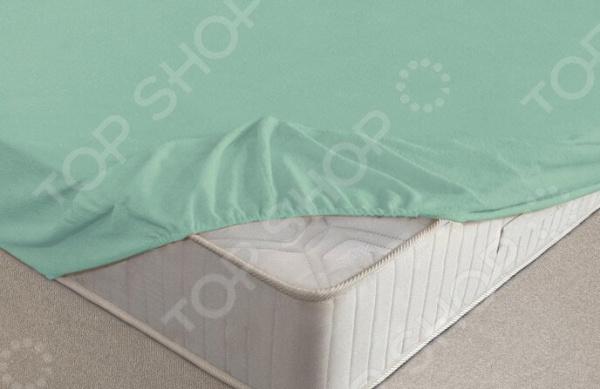 Простыня на резинке Ecotex махровая. Цвет: ментоловый