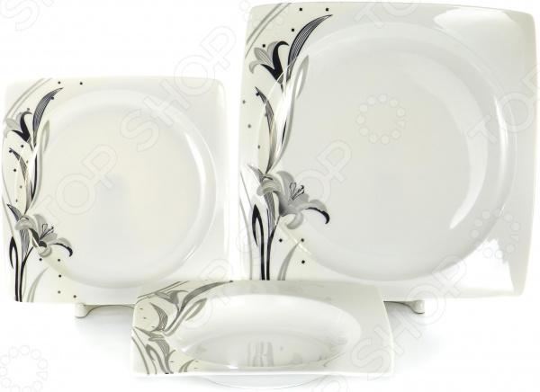 Набор столовой посуды OlAff «Белый квадрат. Лилия». Количество предметов: 18 набор столовой посуды olaff эстелла