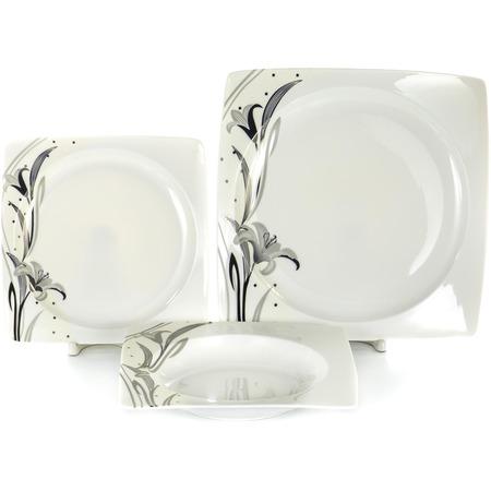 Купить Набор столовой посуды OlAff «Белый квадрат. Лилия». Количество предметов: 18
