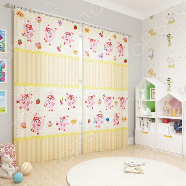 фото Фотошторы блэкаут детские Сирень «Нюша-сладкоежка», Портьеры для детской комнаты