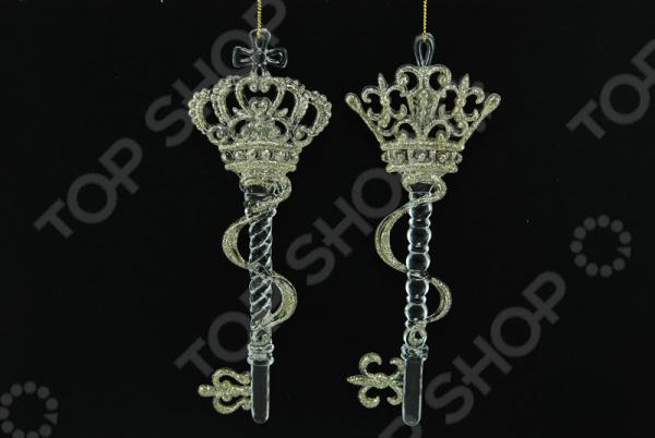 Новогоднее украшение Crystal Deco «Ключ». В ассортименте новогоднее украшение crystal deco шар перламутровый