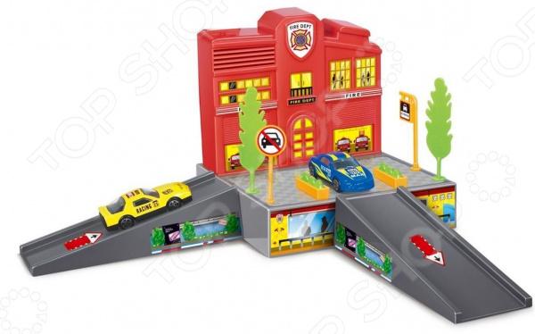 Набор игровой с машинкой Dave Toy «Пожарная станция» игровой набор dave toy заправочная станция с 1 машинкой