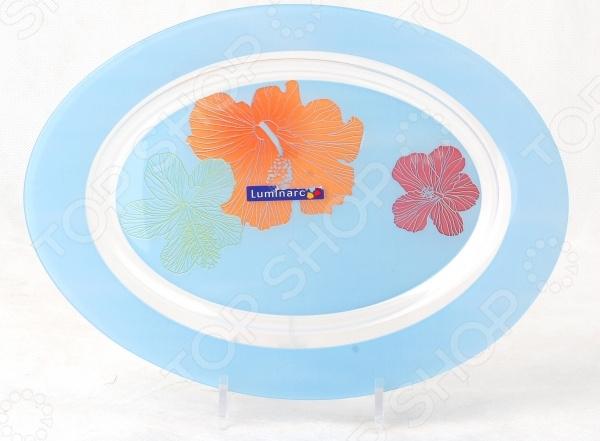 Блюдо овальное Luminarc Carine Hibiscus Blue салатник luminarc carine noir 27см стекло