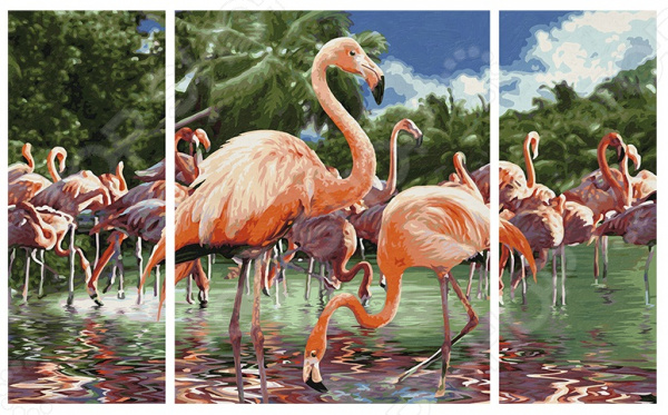 Набор для рисования по номерам Schipper «Триптих. Фламинго» картина по номерам поцелуй schipper 40х50 см