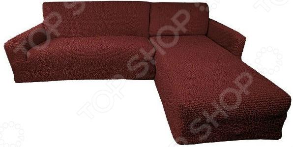 Zakazat.ru: Натяжной чехол на угловой диван с выступом справа Еврочехол «Микрофибра. Бордо»