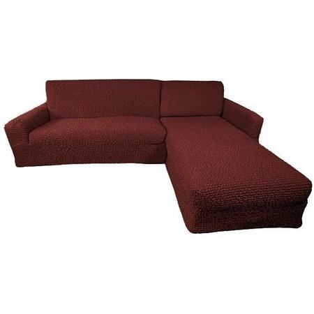 Купить Натяжной чехол на угловой диван с выступом справа Еврочехол «Микрофибра. Бордо»