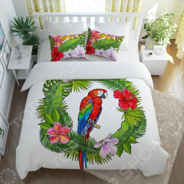 Комплект постельного белья Сирень «Попугай в тропиках»