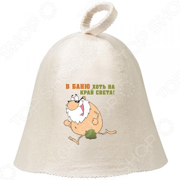 Шапка для бани и сауны с аппликацией Hot Pot «В баню хоть на край света» 41259