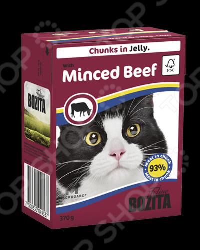 Корм консервированный для кошек Bozita Chunks in Jelly with Minced Beef бозита мини консервы кусочки в соусе с мяcным коктейлем для кошек bozita mini feline chunks in sauce with meat mix 190 г