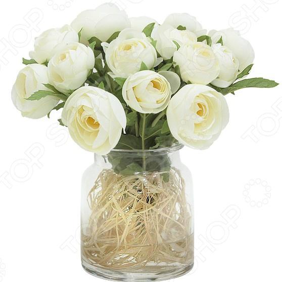 Декоративные цветы Dream Garden «Купальницы белые» в вазе