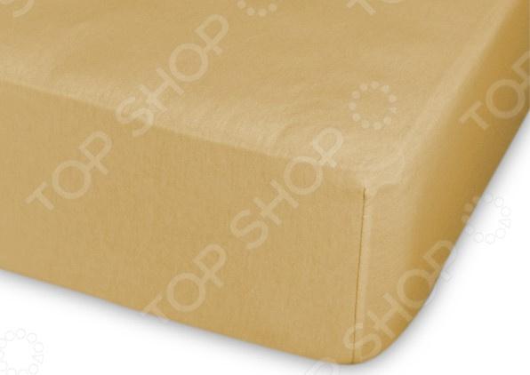Простыня трикотажная на резинке Cleo гладкокрашеная. Цвет: темно-желтый простыня на резинке cleo 160х200 см cl