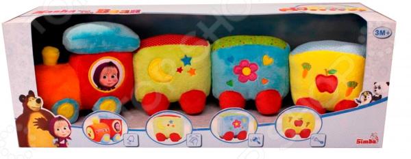 Игрушка развивающая для малыша Simba «Паровозик плюшевый. Маша и Медведь» развивающая игрушка zhorya веселый паровозик белый паравоз с желто синей трубой