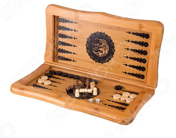 Игра настольная 2 в 1: нарды и шахматы 24520 станет идеальным решением для проведения своего свободного времени с пользой для ума и логики. Особенность данной настольной игры в том, что она может использовать в качестве игрового поля для нард и шахмат. Для этого достаточно просто перевернуть игровое поле и выбрать нужный вариант. Данный набор станет прекрасным решением бесконечного вопроса, что же подарить мужчине, папе, начальнику или хорошему другу. Нарды древняя восточная игра, которая раньше имела тайный символический характер. Сейчас в нарды играют и дети, и взрослые. С её помощью вы без труда натренируете свою логику, внимательность, стратегическое мышление и дальновидность. Шахматы ничем не уступают нардам в азарте и пользе. С ней вы сможете расширить кругозор, научитесь быстро принимать решения и предугадывать следующие шаги вашего противника. Игровое поле выполнено из бамбука натурального и экологически чистого материала, который прост в использовании и уходе. Его достаточно регулярно протирать сухой и мягкой тканью, чтобы удалить лишнюю пыль. Размер игровой доски составляет 30х17 см. В комплекте есть набор шашек для игры в нарды и небольшие шахматные фигуры.