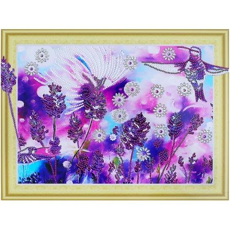 Купить Набор для творчества «Алмазная мозаика». Рисунок: «Лавандовые колибри»
