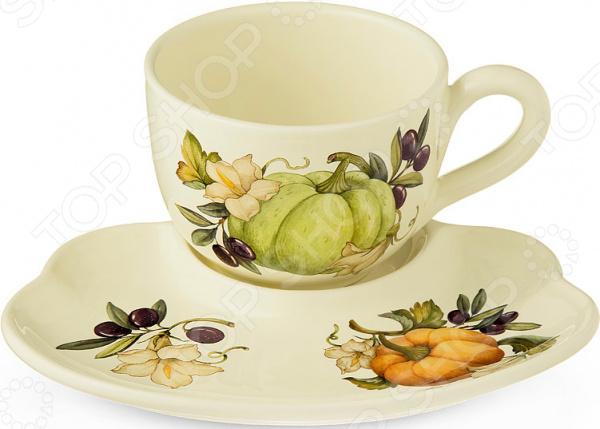 Чайная пара с подносом Nuova Cer «Тыква»