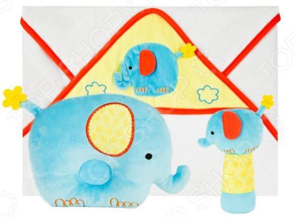 Комплект для малыша: подушка, полотенце и погремушка Жирафики «Добрый слоник»