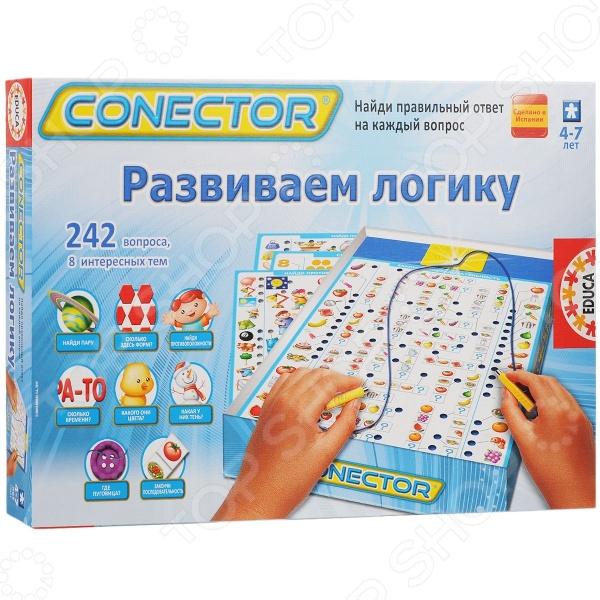 Игра-викторина для детей Educa Развиваем логику популярная игра для детей дошкольного и младшего школьного возраста. Она разработана с участием профессиональных педагогов и с учетом детской психологии. Подобные игры не только увлекательны, но и весьма познавательны для малышей, способствуют развитию логики и расширению кругозора. В набор входят 8 иллюстрированных карточек с вопросами на различные темы Найди пару , Сколько здесь форм , Найди противоположности , Сколько времени , Где пуговица , Какого они цвета , Какая у них тень и Закончи последовательность . Электронная схема работает от 2-х батареек типа АА приобретаются отдельно .