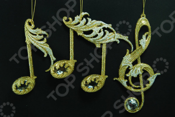 Новогоднее украшение Crystal Deco «Музыкальная нота». В ассортименте новогоднее украшение crystal deco шар перламутровый