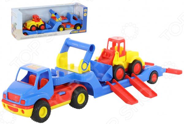 Набор машинок игрушечных Wader «КонсТрак трейлер + Базик погрузчик»