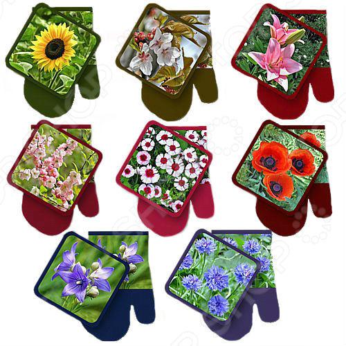 цена на Набор: прихватка с рукавицей Мультидом «Фото-Цветы» L22-84. В ассортименте