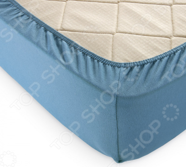 Простыня на резинке ТексДизайн. Цвет: голубая ель