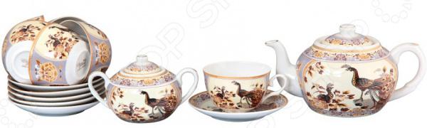 Чайный набор Elan Gallery «Павлин на бежевом» 730502