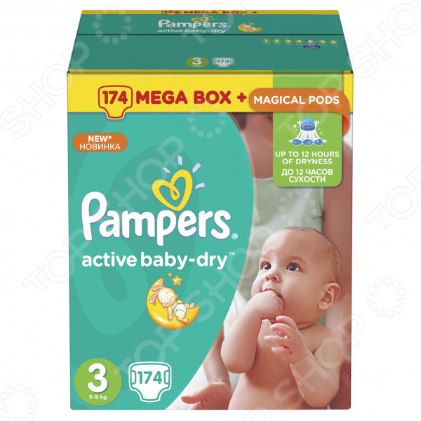���������� Pampers Active Baby-Dry 5-9 ��, ������ 3, 174 ��.