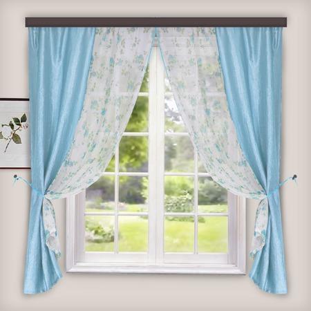 Купить Комплект: тюль и шторы WITERRA «Хлоя». Цвет: белый, голубой. В ассортименте