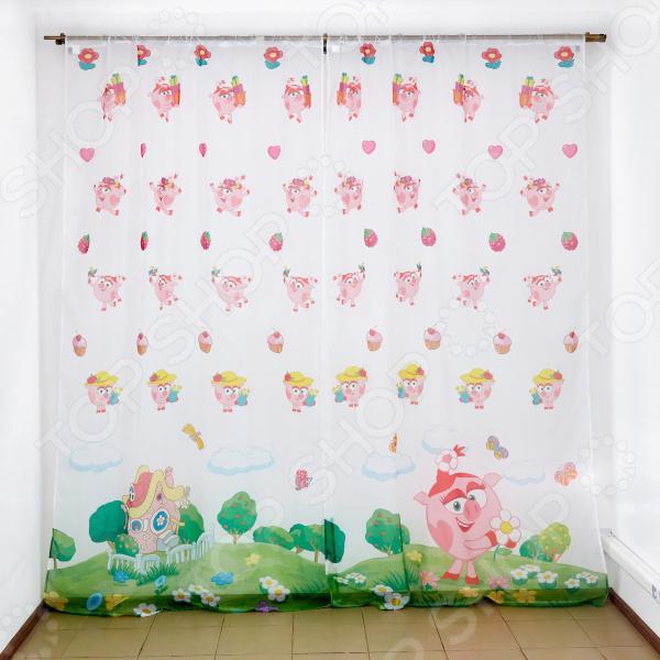 фото Комплект тюля детского Сирень «Симпатичная Нюша», Портьеры для детской комнаты