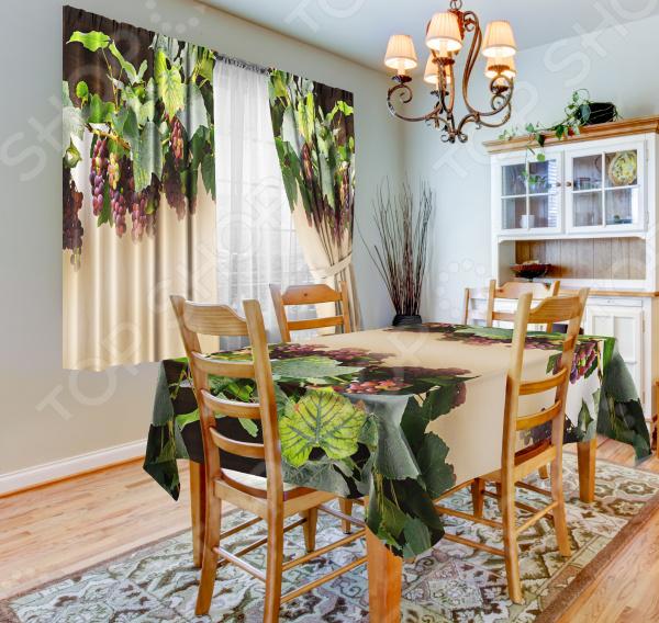 фото Набор для кухни: шторы, тюль и скатерть «Виноград», Фотошторы с цветами/пейзажами