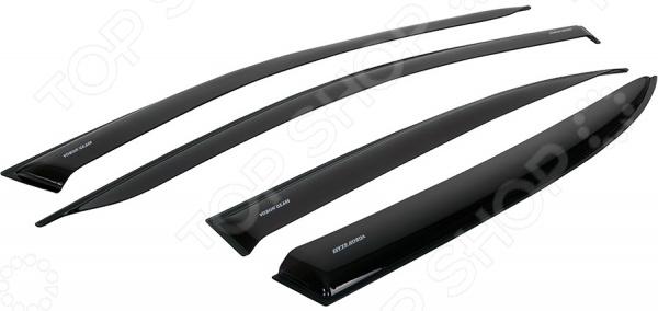 Дефлекторы окон неломающиеся накладные Azard Voron Glass Samurai Nissan Tiida 2004-2014 седан