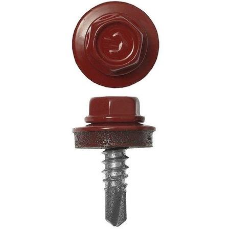 Купить Набор саморезов кровельных Зубр СКМ для металлических конструкций. Цвет: красный