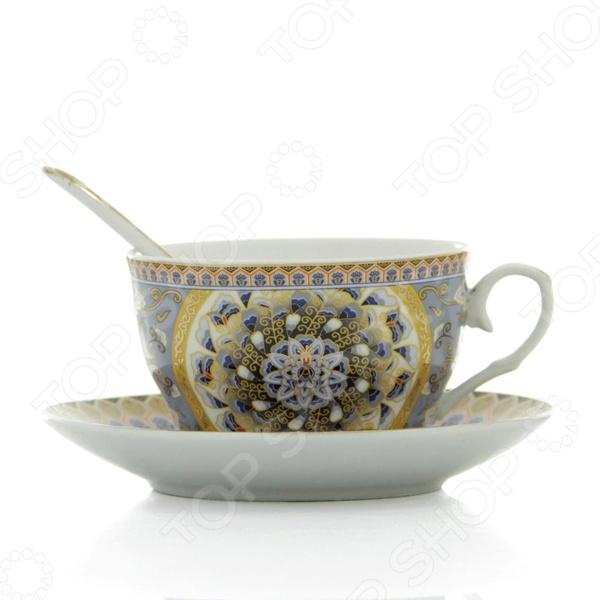 Чашка чайная с блюдцем и ложкой Elan Gallery «Калейдоскоп» Elan Gallery - артикул: 534221