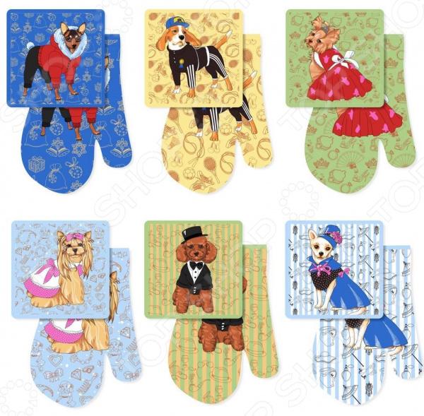 Наббор: прихватка и рукавица Мультидом «Собака-модница». В ассортименте прихватка рукавица 18 28 романтика розовый ноктюрн