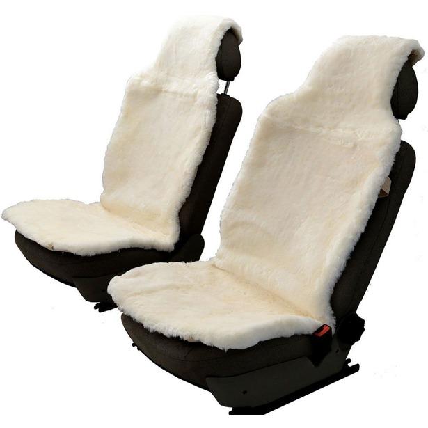 фото Комплект меховых накидок на сиденья Senator Country Premium. Цвет: белый