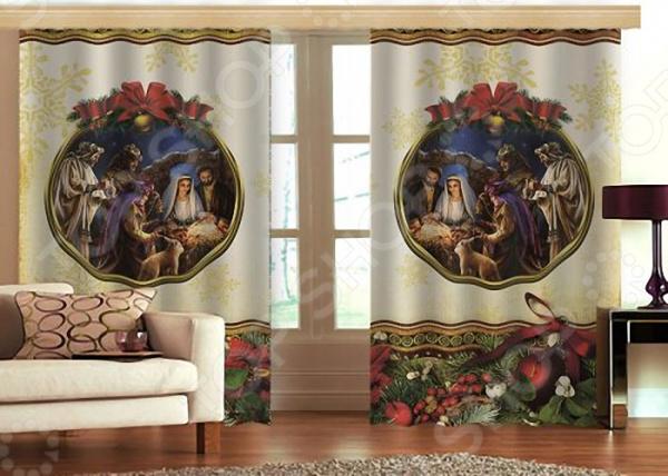 Комплект фотоштор с тюлем «Рождество» текстиль для дома