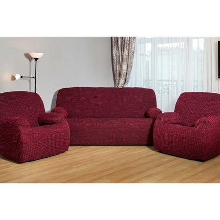 Купить Натяжной чехол на трехместный диван и чехлы на 2 кресла Karbeltex «Модерн-металлик»