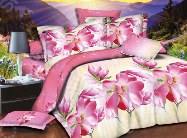 Комплект постельного белья «Сладкий сон». 1,5-спальный. Рисунок: розовые цветы