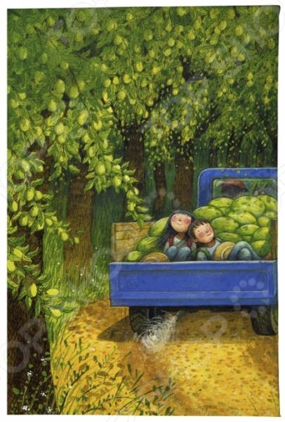 Обложка для паспорта кожаная Mitya Veselkov «Дети в грузовике дынями»