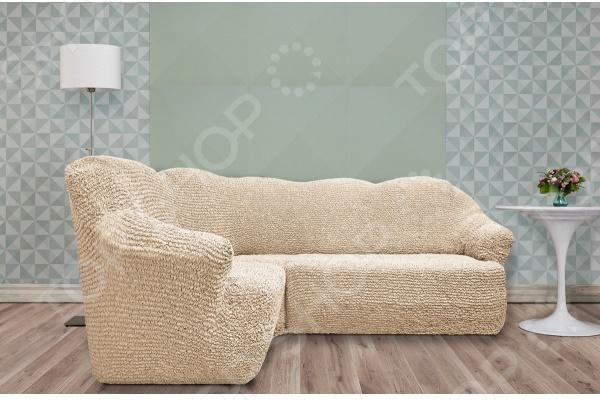Натяжной чехол на классический угловой диван Еврочехол «Микрофибра. Ваниль» 3