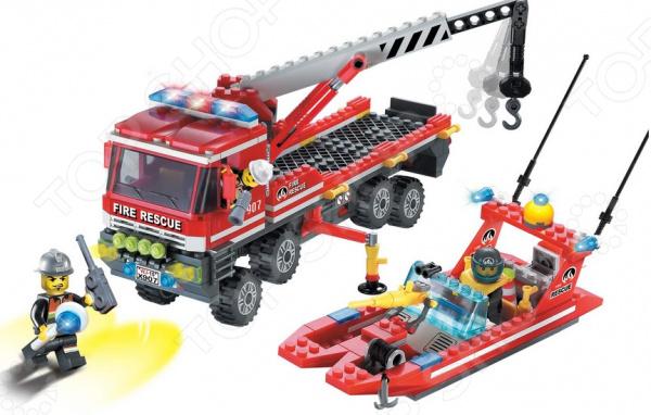 Конструктор игровой Brick «Пожарный катер и машина» 1717084