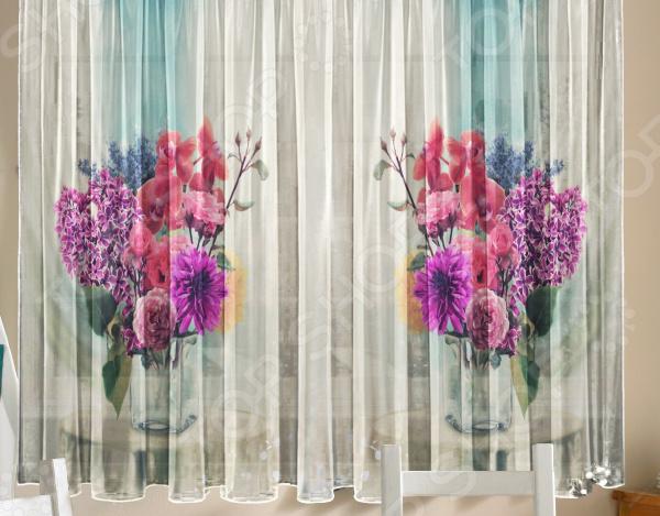 Комплект тюля ТамиТекс «Цветы в вазе»