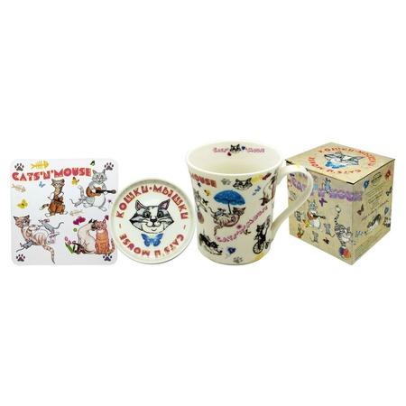 Купить Кружка с крышкой и подставка Gift'n'Home «Кошки-мышки»