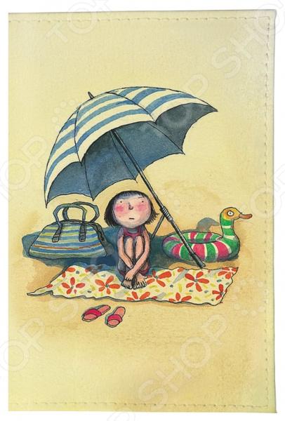 Обложка для автодокументов Mitya Veselkov «Девочка на пляже»
