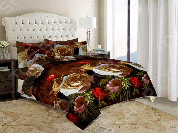 Комплект постельного белья «Нежность». Евро. Цвет: коричневый